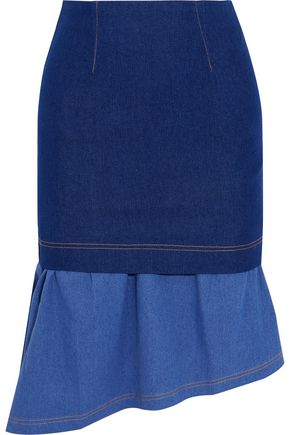 PAPER London Hamilton asymmetric layered stretch-denim skirt