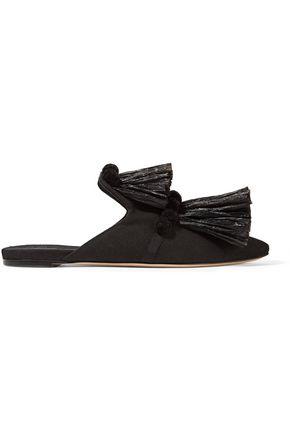 SANAYI 313 Raffia Pom Pom canvas slippers