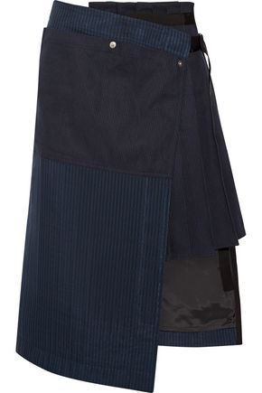 SACAI Hickory asymmetric pleated striped cotton-canvas and organza skirt