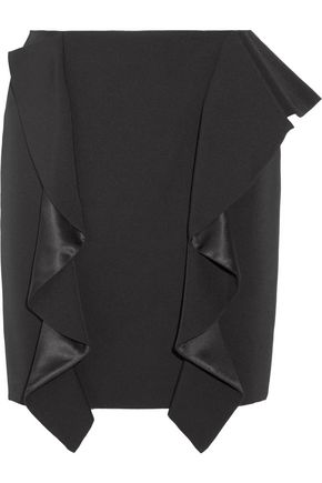 GIVENCHY Ruffled silk satin-paneled grain de poudre wool mini skirt