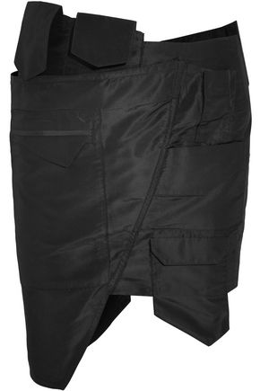 RONALD VAN DER KEMP Asymmetric silk-taffeta mini skirt