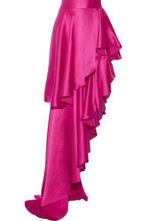 MICHAEL LO SORDO Asymmetric ruffled silk-satin maxi skirt