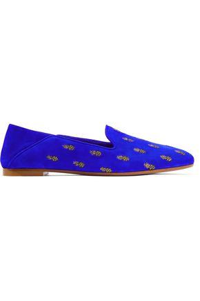 AQUAZZURA Woman Ananas Embroidered Suede Slippers Royal Blue in Aquazzura Blue
