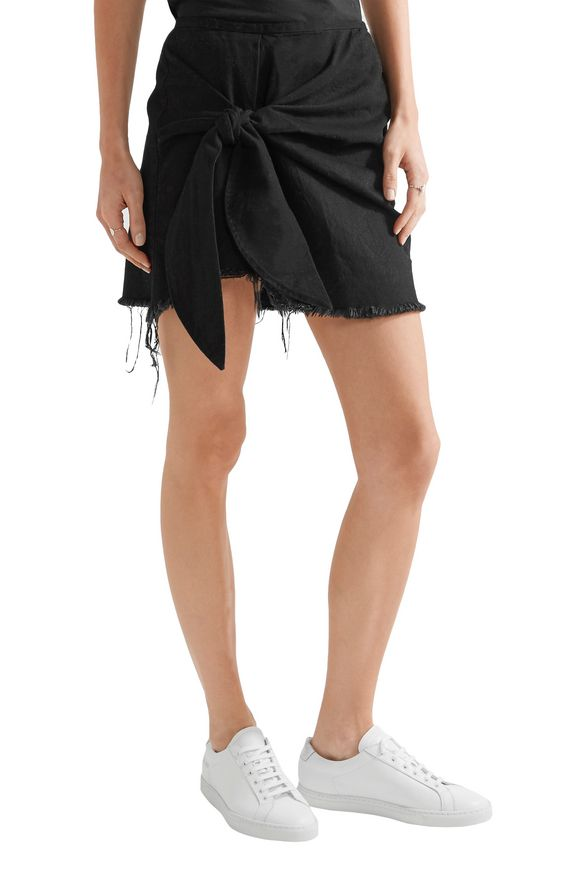 Knotted frayed denim mini skirt   MARQUES' ALMEIDA   Sale up to 70% off    THE OUTNET