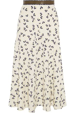 ROKSANDA Moraya leather-trimmed printed silk crepe de chine midi skirt