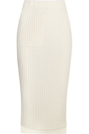 JOSEPH Distressed ribbed-knit midi skirt