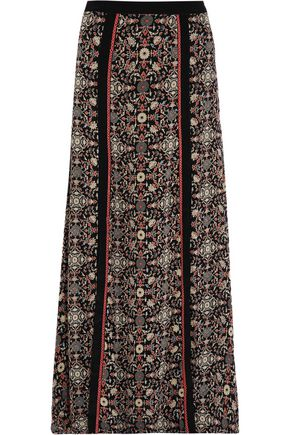 TALITHA Raj embroidered printed silk-georgette maxi skirt