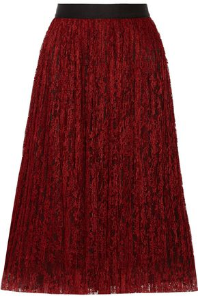 ALICE + OLIVIA Mikaela pleated lace skirt
