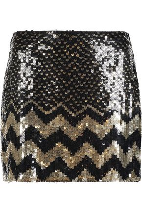 ALICE + OLIVIA Elana sequined crepe mini skirt