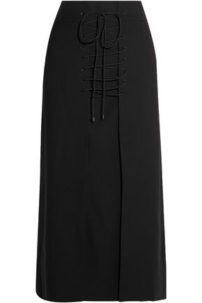 VILSHENKO Vera lace-up wool-canvas midi skirt