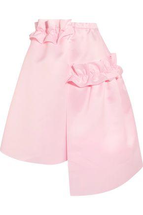 PASKAL Asymmetric ruffle-trimmed matte-satin skirt