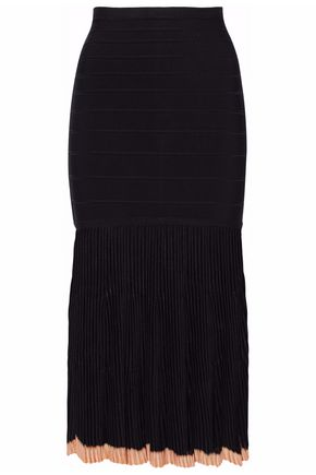HERVÉ LÉGER BY MAX AZRIA Paneled ribbed-knit bandage midi skirt