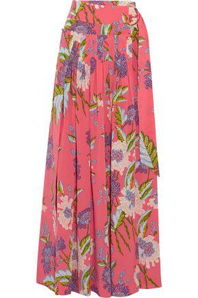 DIANE VON FURSTENBERG Floral-print silk crepe de chine wrap maxi skirt