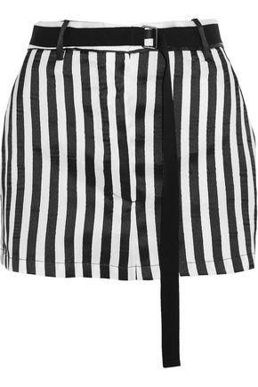 ANN DEMEULEMEESTER Striped satin-twill mini skirt