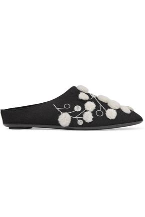 THE ROW Bea embellished cashmere slippers