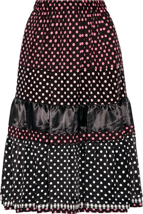 COMME DES GARÇONS GIRL Tiered printed cotton and satin midi skirt