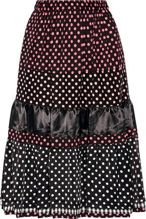 COMME DES GARÇONS GIRL Tiered printed cotton and satin midi skirt