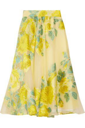 LELA ROSE Floral fil coupé organza midi skirt