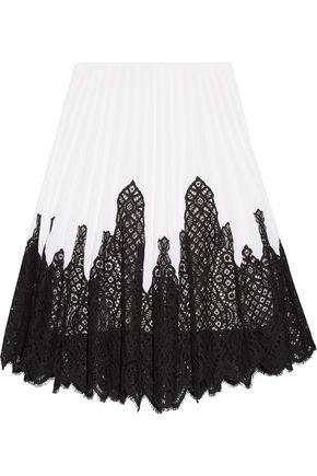 OSCAR DE LA RENTA Pleated stretch-knit and lace skirt