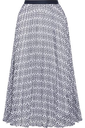 OSCAR DE LA RENTA Pleated broderie anglaise cotton-blend skirt