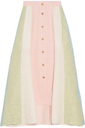 PETER PILOTTO Asymmetric button-detailed color-block linen midi skirt