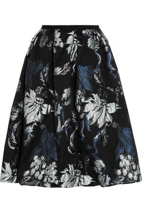 ERDEM Halyn pleated metallic jacquard skirt