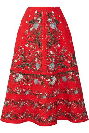 ERDEM Tiana floral-print cloqué midi skirt