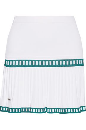 L'ETOILE SPORT Medea two-tone pleated stretch-knit tennis skirt