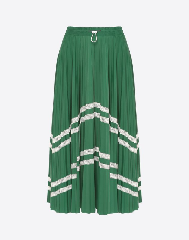 Pleated skirt with lace