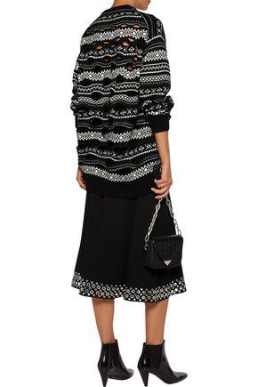 ALEXANDER WANG Eyelet-embellished cady midi skirt