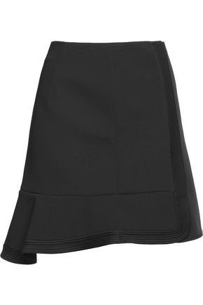 ALEXANDER WANG Fluted satin-trimmed scuba mini skirt