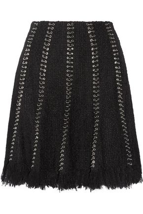 ALEXANDER WANG Embellished frayed tweed skirt