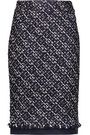 OSCAR DE LA RENTA Canvas-trimmed metallic tweed pencil skirt