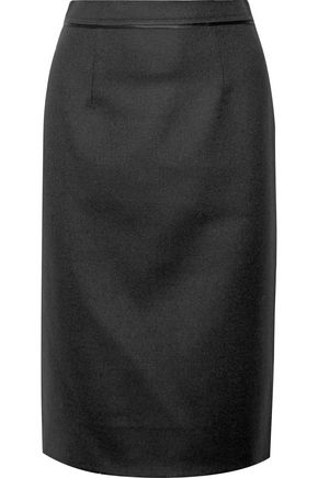 OSCAR DE LA RENTA Wool-crepe pencil skirt