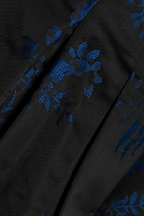 OSCAR DE LA RENTA Pleated floral-jacquard skirt