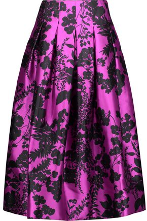 OSCAR DE LA RENTA Pleated printed silk and cotton-blend twill midi skirt