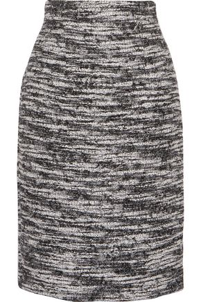 OSCAR DE LA RENTA Metallic wool-blend bouclé skirt