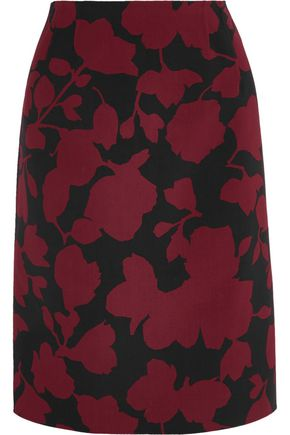 OSCAR DE LA RENTA Printed wool blend skirt