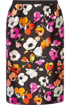 OSCAR DE LA RENTA Floral-print silk and cotton-blend gazar skirt