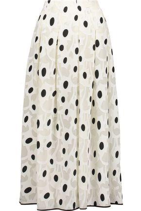 OSCAR DE LA RENTA Fil coupé silk-blend midi skirt