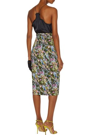 CUSHNIE ET OCHS Lattice-trimmed floral-print stretch-cady midi skirt