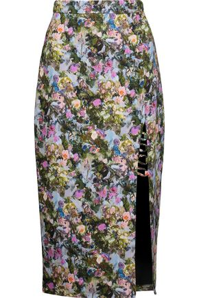 CUSHNIE ET OCHS Lattice-trimmed floral-print stretch-cady midi skirt