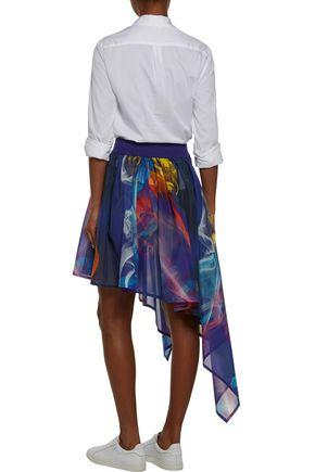 Y-3 + adidas Originals asymmetric printed mesh skirt