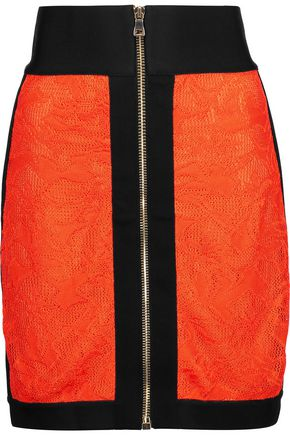 BALMAIN Lace and jersey mini skirt