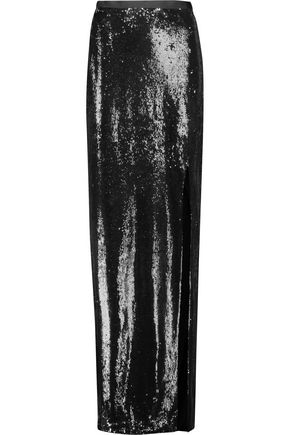 HALSTON HERITAGE Sequined crepe maxi skirt