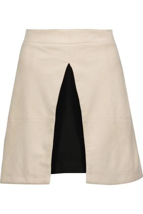 ALICE + OLIVIA Layered suede mini skirt