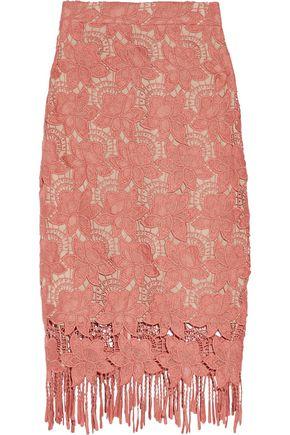 ALICE + OLIVIA Fringed guipure lace midi skirt