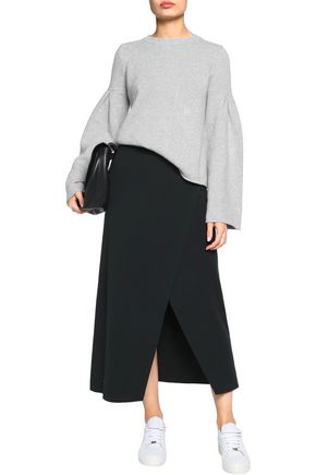 A.L.C. Muller wrap-effect stretch-knit midi skirt