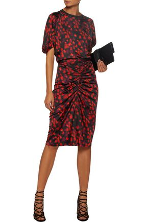GIVENCHY Ruched printed stretch-jersey skirt 787c4a9e5