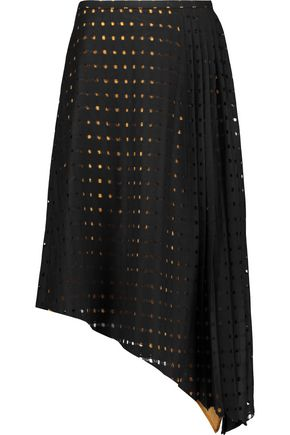 CARVEN Asymmetric open-knit wool-blend skirt
